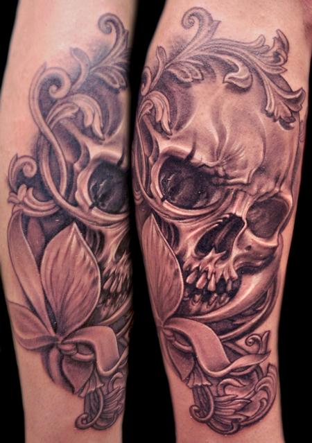 Tattoos - Black and Gray Skull and Flower - 68759