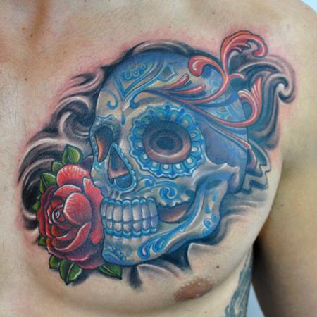 Tattoos - Colorful Sugar Skull with Rose Tattoo - 78216