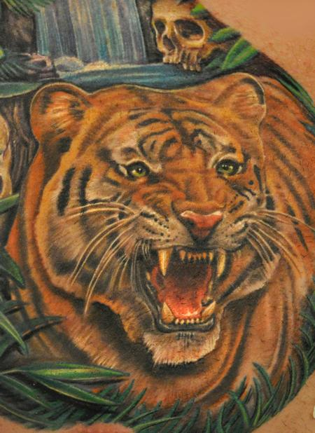 Tattoos - Nate Beavers Color Tiger Portrait Tattoo - 56743