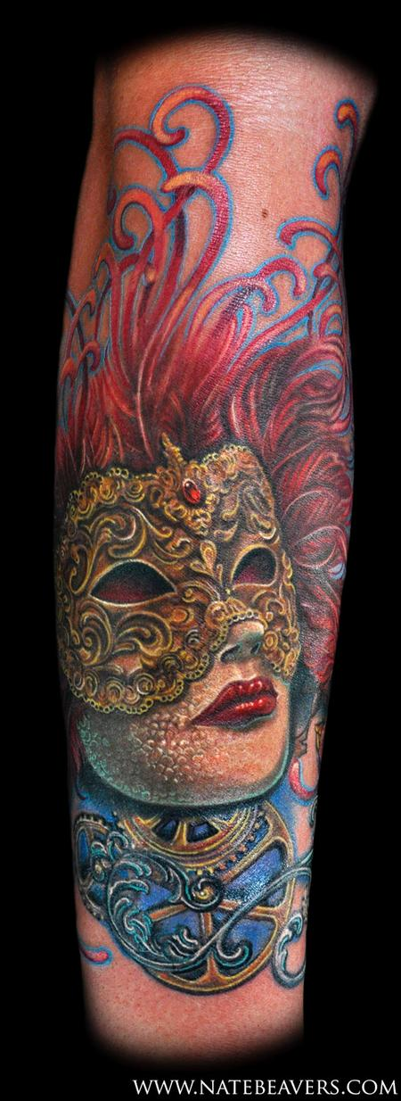 Tattoos - Nate Beavers Realistic Color Venetian Mask Tattoo - 56655