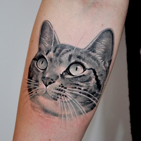 Tattoos - Black and Gray Cat Portrait Tattoo - 89274