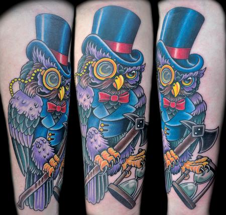 Colorful Traditional Owl with Axe Tattoo Design Thumbnail