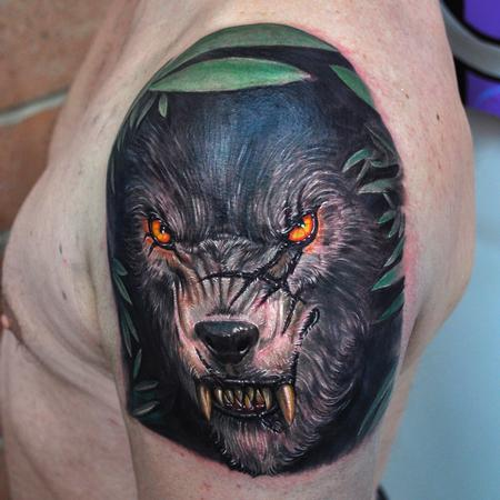 Nate Beavers - Color Wolf Portrait Tattoo