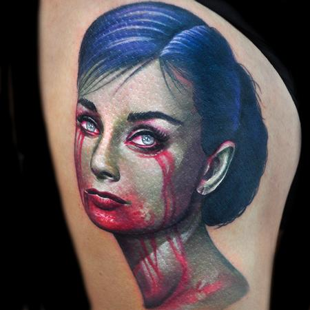 Tattoos - zombie Hepburn color portrait tattoo - 89823