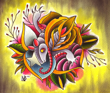 Tattoos - color armadillo rose morph watercolor paintin - 14480