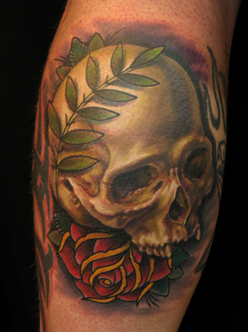 Tattoos - realistic skull with traditional rose - 22243