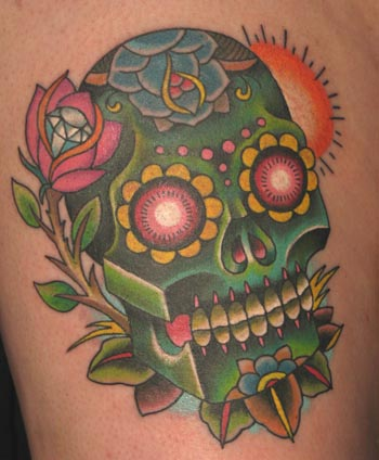 Tattoos - neo traditional sugar skull and rose - 22244