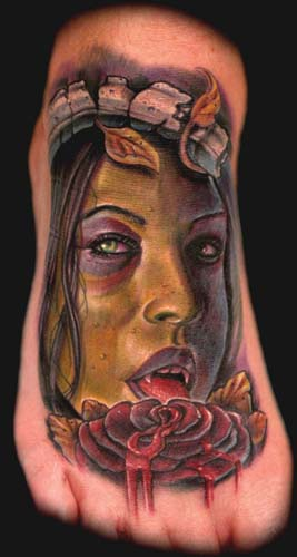Tattoos - color vampire portrait on foot - 32503