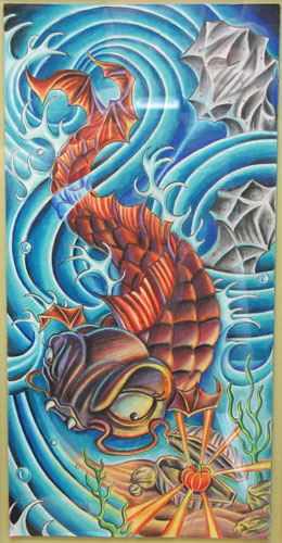 Nate Beavers - vampire koi fish colored pencil