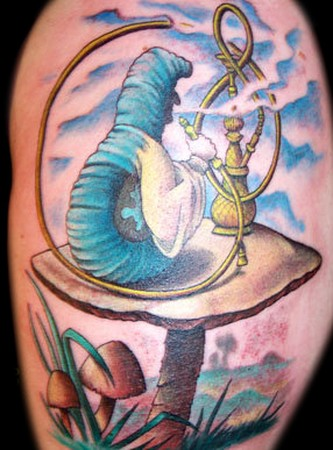 Pin Hookah Smoking Caterpillar Need Help Alice In Wonderland Tattoo on