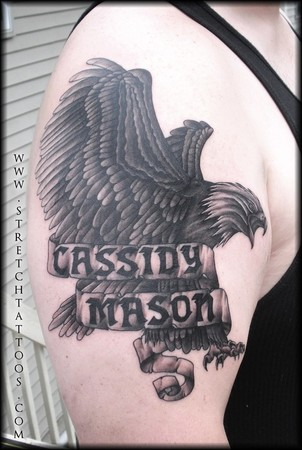 Tattoos - Black and Gray Eagle Tattoo - 48489