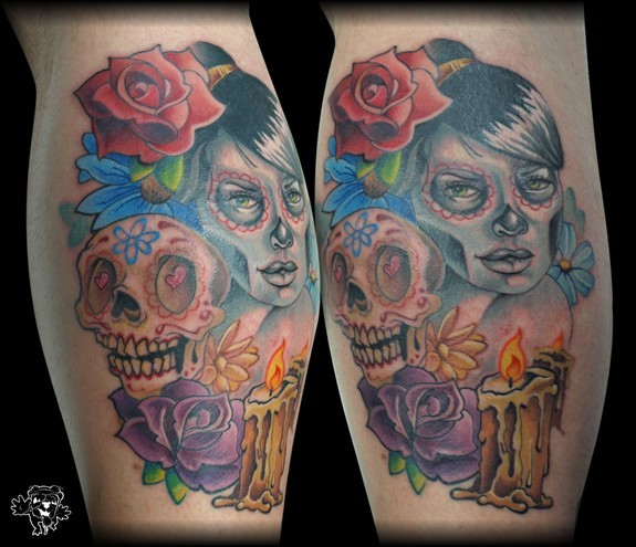 tattoos of skulls and flowers. Flower Tattoos, Skull