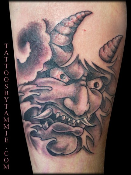 Comments Tattoo by Tammie Hannya mask on a forearm
