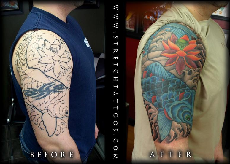 and tribal tattoos up after before covered : Cover Tattoos Up Half Sleeve : Koi
