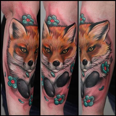 Fox and flowers Tattoo Design Thumbnail