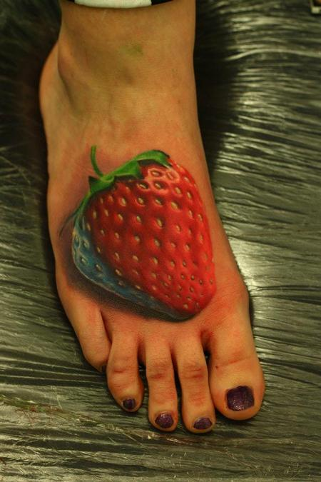 Tattoos - Realistic Strawberry Tattoo - 66903