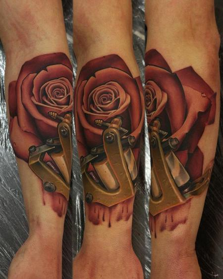 Tattoos - Realistic Rose and Tattoo Machine Tattoo - 66905