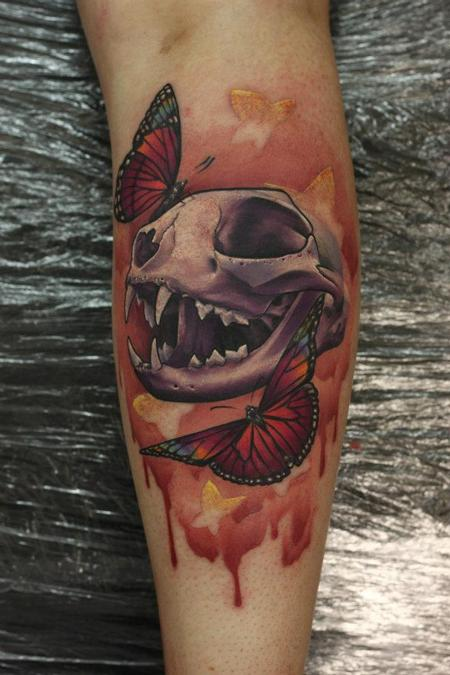 Tattoos - Skull and Butterfly Tattoo - 66908