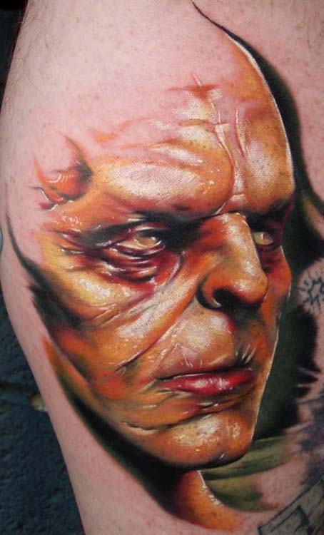 Evil face by kyle cotterman tattoonow for Evil faces tattoos