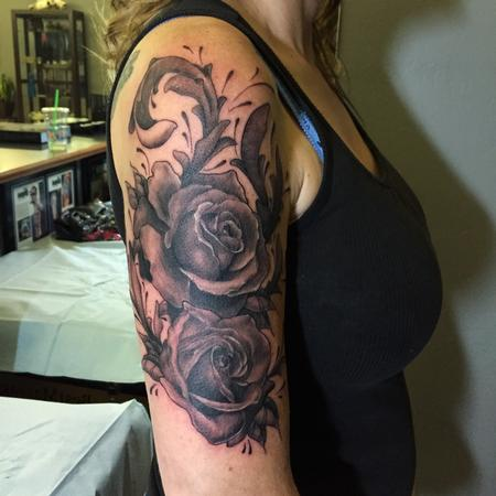 Tattoos - Black and Grey Roses and Filigree - 100804