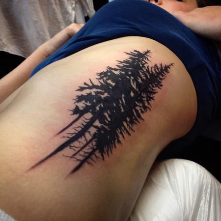Tattoos - Pacific Northwest Oregon Tree Silhouette Tattoo - 97693