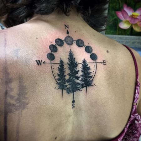 Tattoos - Blackwork Forest Moon Phase Tattoo - 121747