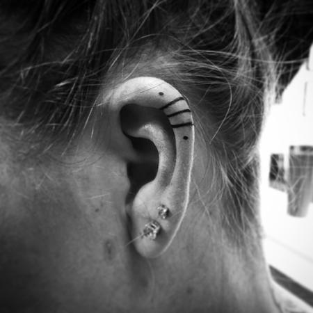 Tattoos - Black Lines Ear Tattoo - 120133