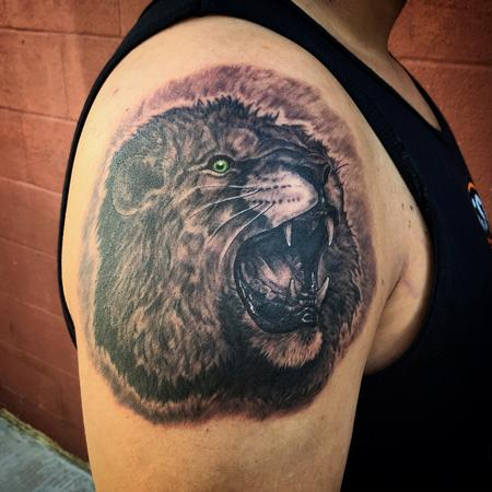 Black and Grey Lion Tattoo Design Thumbnail