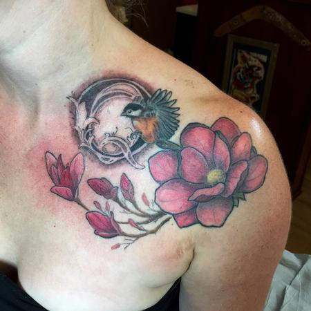 Tattoos - Magnolia and Chickadee Memorial Tattoo - 108471