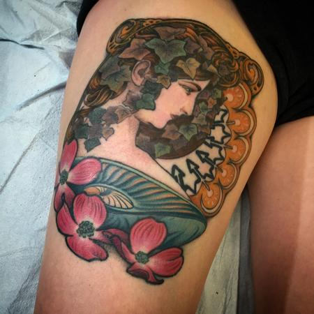 520df0fef Tattoos - Alphonse Mucha Art Nouveau Tattoo - 121748. Tattoos - Aster Flower  ...