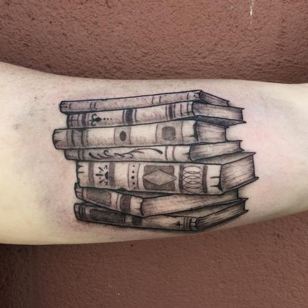 Tattoos - Stack of Books Tattoo - 109843