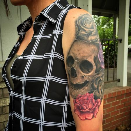 Tattoos - Skull and Flowers Tattoo - 119038