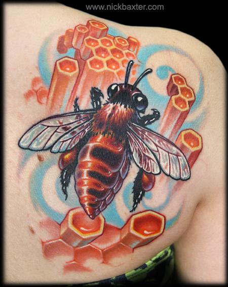 Bee and Honeycomb Tattoo Design Thumbnail