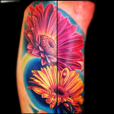 Tattoos - color flowers tattoo - 67363
