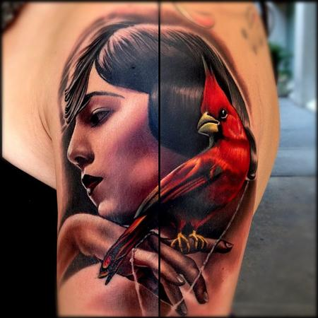 Tattoos - Portrait and cardinal tattoo - 67365