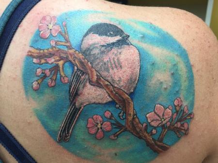 Tattoos - Chickadee on branch - 125599