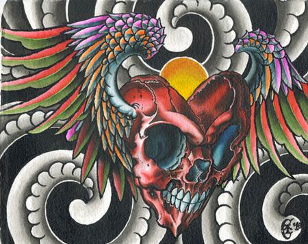 Tattoos - Skull heart with wings - 125604