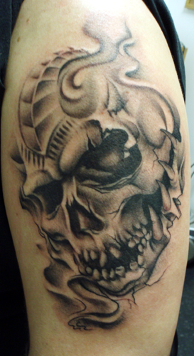 skull head tattoos. Severed Head tattoos,