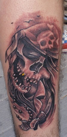 Evil pirate skull tattoo - photo#2