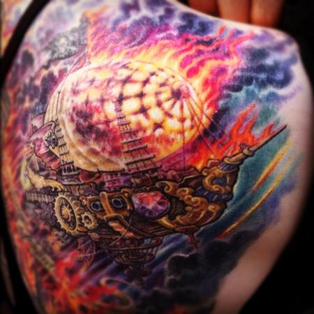 Tattoos - Burning steampunk blimp - 67939
