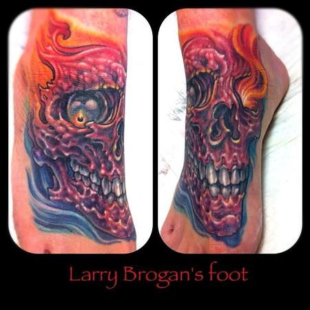 Tattoos - Larry Brogan Foot Coverup Tattoo - 67938