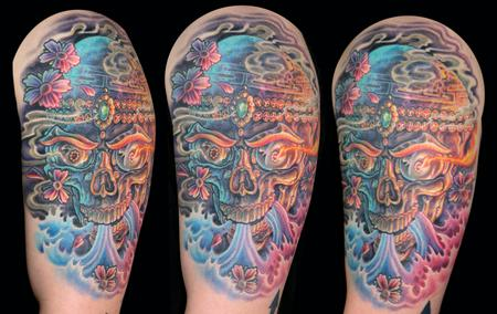 Tattoos - Colorful Tibetan Skull - 100139