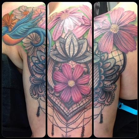 Flowers and Lace Tattoo Design Thumbnail