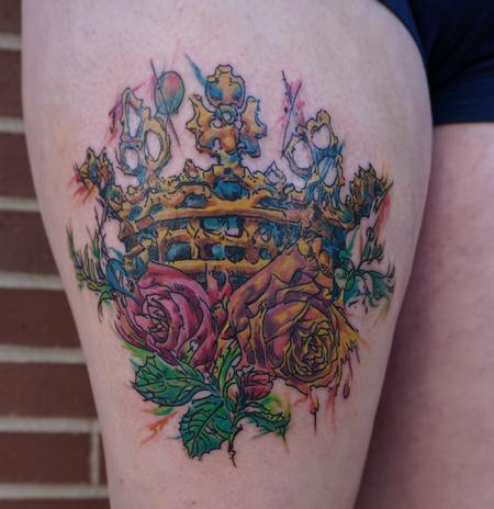 Tattoos - Watercolor Crown and Roses - 114851