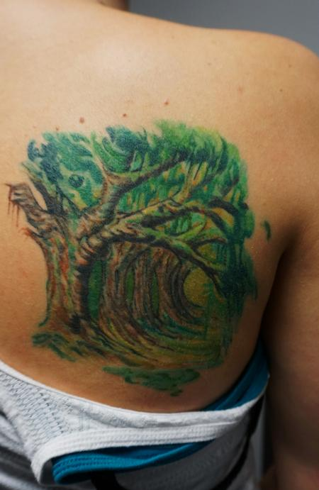 Tattoos - Hallway of trees watercolor style - 114863