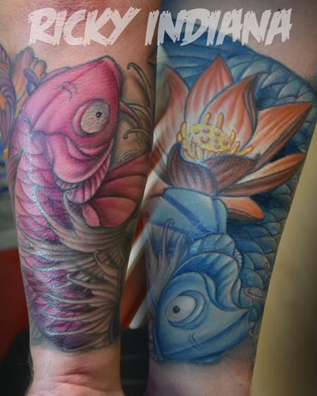 Tattoos - Swirling Koi Fish and Flowers - 125013