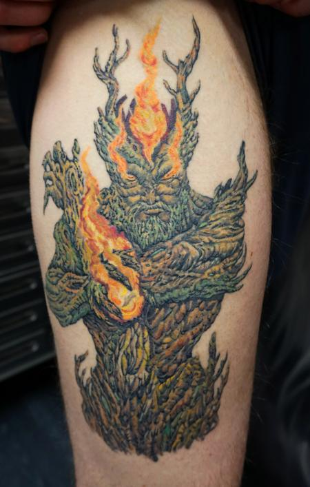 Tattoos - Custom Treeman on thigh - 114867