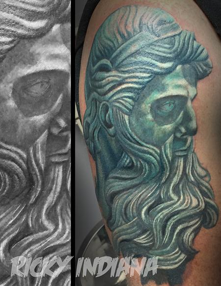Ricky Indiana - Start of a Poseidon half sleeve- Work in progress