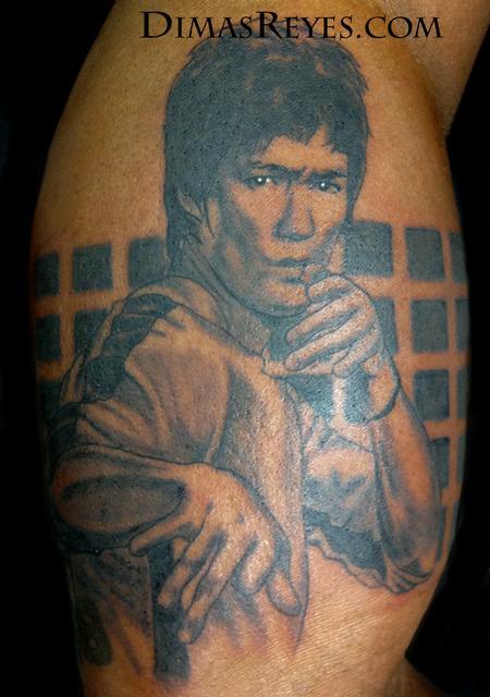 Dimas Reyes - Black and Grey Bruce Lee Portrait
