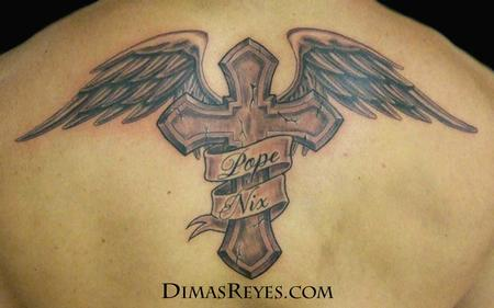 Dimas Reyes - Black and Grey Winged Cross Tattoo
